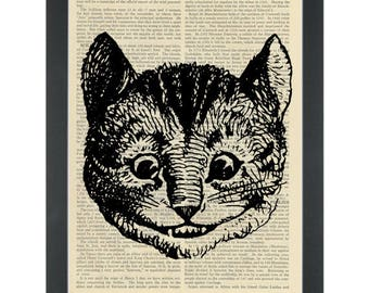 Cheshire Cat Alice in wonderland vintage drawing Dictionary Art Print