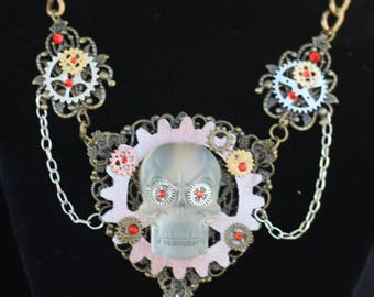 steampunk inspired necklace with glow in the dark skull