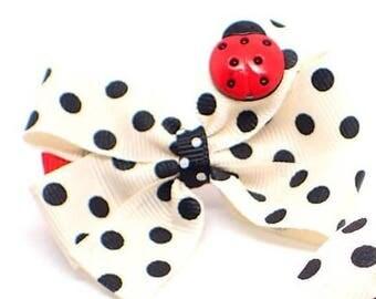 2 Pc Small hair bows toddler girls hair bows girls hair clips ladybird bow hair clip little girls hair bows toddler hair accessory bow clip