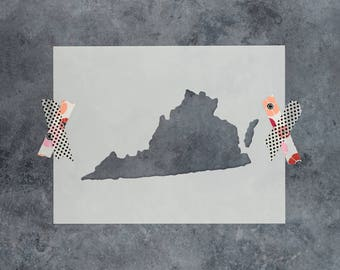 Virginia State Stencil - Hand Drawn Reusable Mylar Stencil Template