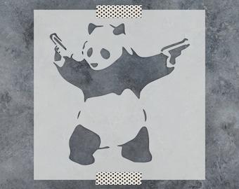 Panda with Guns Banksy Stencil - Reusable DIY Craft Stencils of a Banksy Panda with Guns