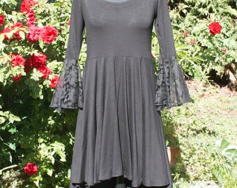 Gothic mullet dress with lace Bell sleeves