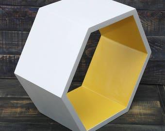 ALL SIZES Wooden hexagone shelves,floating shelve,Deep wooden hexagonal shelf,white yellow hexagon shelves,rustic wall shelves,kids shelves