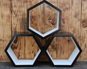 ALL SIZES Set of 3 hexagon wall shelves,Hanging shelf,Wooden shelf,Classic wooden shelves,Geometric wall shelves,eco friendly,home decor