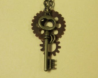 "Geared Key Steampunk Necklace on 18"" Chain"