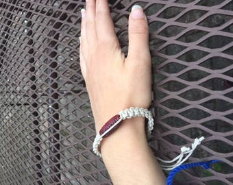 Red beaded hemp bracelet