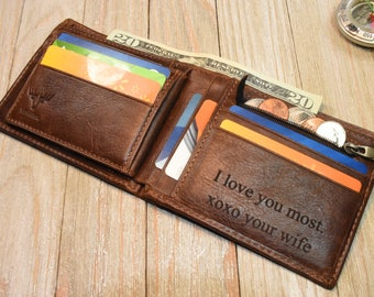 Mens Custom Wallet Front Pocket Wallet Groomsmen Gifts For Anniversary Slim Leather Wallet Minimalist Mens Wallet Coordinate Valentines Gift