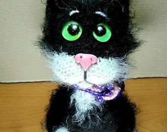 Black Cat plush Amigurumi Toys animal Soft sculpture Personalized Doll miniature Funny Toy Waldorf Gift ideas  Stuffed animal Puppy cat Toy
