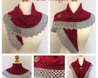 Hand crocheted shawl/scarf/wrap/mini shawl/Shawlette