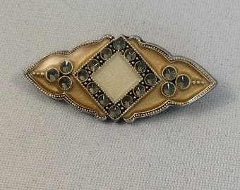Vintage Signed Catherine Popesco Art Deco Style Enamelled Brooch with Swarovski Crystals