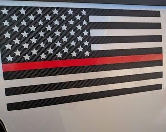 Carbon Fiber American Flag Red Line