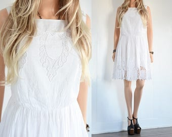 Boho Lace Dress White Lace Wedding Dress Lace Dress Bohemian Wedding Dress Boho Wedding Dress Vintage floral Dress Cowgirl Wedding Lace S