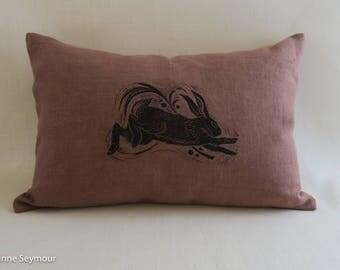 Designer throw pillow cover, linen pillow, block print pillow, hand block printed pillow cover, rabbit pillow