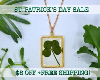 "SALE! Genuine 4 Leaf Clover Rectangle Necklace [AC 013] /Rose Gold Tone 18"" Necklace / White Clover Pendant/Triforium Repens/Good Luck Charm"