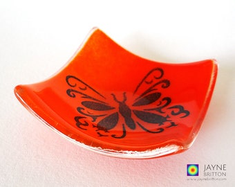 Butterfly bowl, fused glass, red and orange blended glass, symbol of transformation, symbol of change, unusual wedding favour, party favor