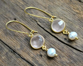 Gold Earrings, Wedding Earrings Gold, Rose Quartz Earrings Pearls, Dangle Earrings, Pink Earrings Real Pearl Earrings, Gift for Women Gift