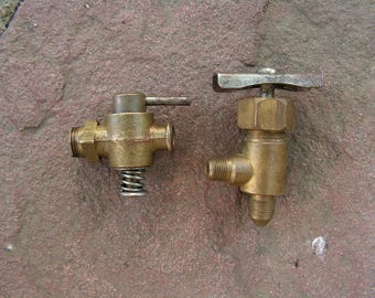 Vintage Brass Water Taps Old Water Faucet Set of 2 Small Brass Faucet Steampunk Supply Brass Spigot