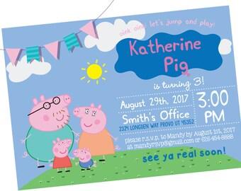 Peppa Pig Invitation, Peppa Pig Instant Download Invitation, Peppa Pig Invitations, Peppa Pig Birthday Invitation, Peppa Pig