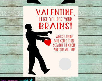 Zombie Zombies Walkers Walker Valentineu0027s Day Kids Valentine Scratch Off  Cards Tickets Party Favors Gifts School