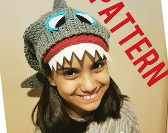 Kids Crochet Shark Hat