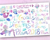 Plan Your Dreams Collection Planner Stickers / Watercolor Mermaid and Unicorn Planner Stickers / Plan 2017 Words Planner Stickers