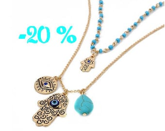 SUMMER SALE / / / necklace multi strand Hamsa & evil eye / / / gold plated and turquoise