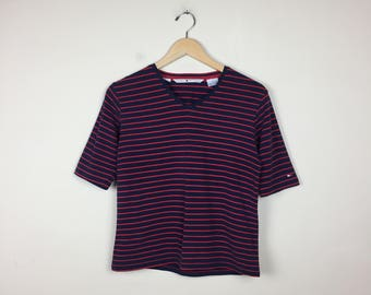 90s Tommy Hilfiger T Shirt, Tommy Hilfiger Shirt, 90s Tommy Hilfiger, Striped Tommy Hilfiger, Striped T Shirt Large