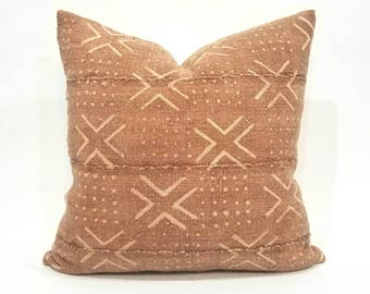 "20"" Rust african mudcloth pillow cover"