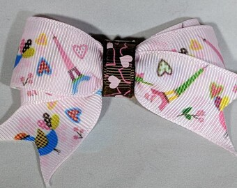 Paris barrette/eiffel tower clip/love hairclip/valentine's day hairclip/love bird/french ribbon