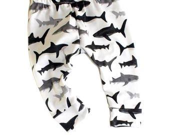 Shark Leggings-Baby Boy Leggings-Shark Baby-Hipster Baby-Ocean Baby