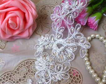 1 pair Bridal Beads Sequins Lace Applique DIY Trim Appliques in White   for Weddings, Sashes, Veils, Headpieces, WL1770