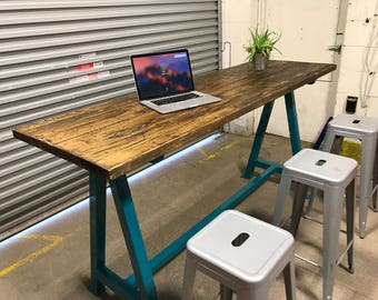 Bar table , cafe table , high table , A frame table , standing table , reclaimed wood table , industrial table , table , office desk , wood