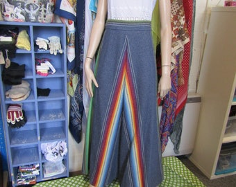 Rainbow Chevron Blue Maxi Skirt - Richards Shop - Size 8-10