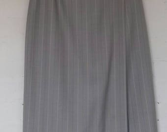 1990's beige/grey striped long pencil skirt by St Michael - size 10/12