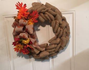 Burlap Fall Wreath, Fall Wreath, Burlap Wreath, Burlap Home Decor, Burlap Door Wreath