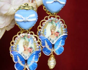 Young Marie Antoinette Victorian Blue Butterfly Pearl  Studs Earrings