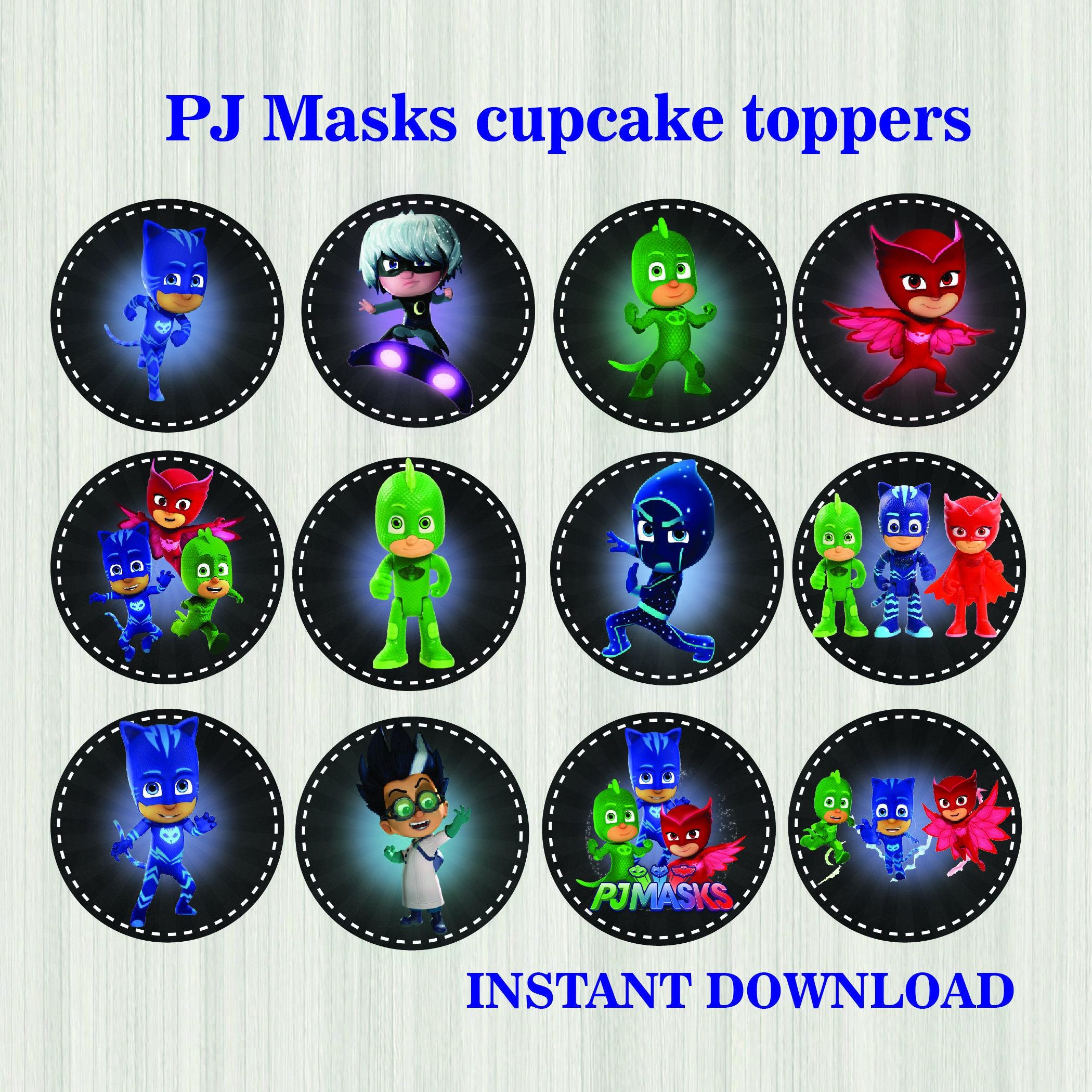 Pj Masks Cupcake Toppers Chalkboard Pj Masks Stickers Pj