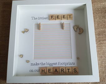 The littlest feet make the biggest footprints scrabble photo frame, baby photo frame, expecting gift, new Baby, new parent gift, Christmas