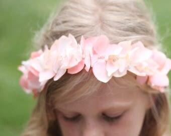 Peach Floral Headband, Peach  Flower girl tie back, Peach silk hydrangea, Coral headband