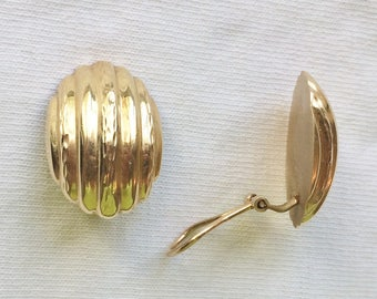 Estate 14k Yellow Gold Genuine Clip On Clipon Earrings 3.9g Marked 14 K kt 14kt Vintage Shiny Oval Stripes 3D Large Statement Comfortable