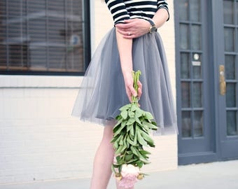 Tulle Skirt in Ash Grey