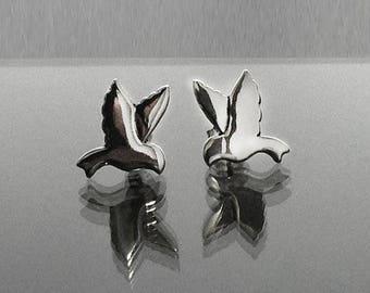 925 Solid Sterling Silver BIRD Earrings/Small Bird/Stud/Lovely Bird Jewelry Silver/Small Bird Stud Earrings