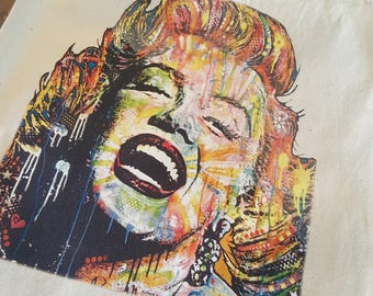 "Free Shipping; 15""W x 16""H; Beige Tote; Marilyn Monroe"