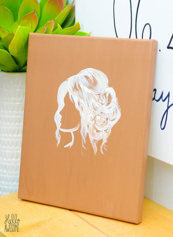 Curly Updo Hairstyle Fashion Canvas Painting 8x10 Wall Art
