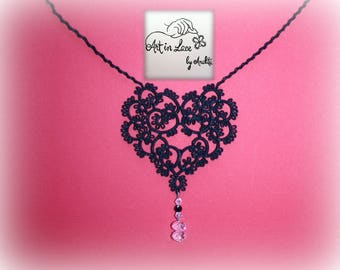 Tatted Dark Heart Necklace