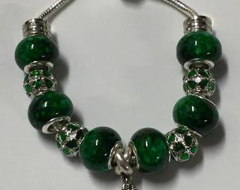 Green shamrock St. Patrick's Day European charm bracelet