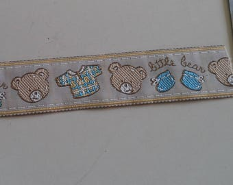beige and Blue Ribbon with a teddy bear and baby width 2.5 cm new patterns