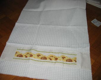 Sunflower hand towel embroidered cross stitch