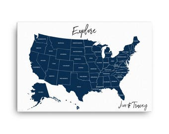Us Travel Map Etsy - Travel map us