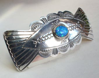 Opal Hair Barrette Sterling Silver Hair Clip Navajo Indian Native American